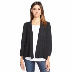Eileen Fisher Black Linen Wrap Front Cardigan M